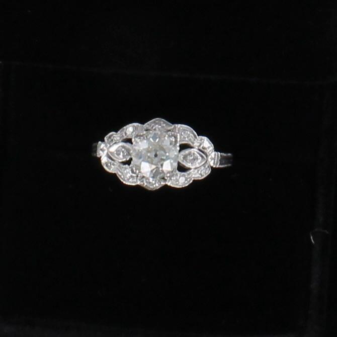 PLATINUM .90 CT OLD MINE CUT DIAMOND ENGAGEMENT RING, CA 1920
