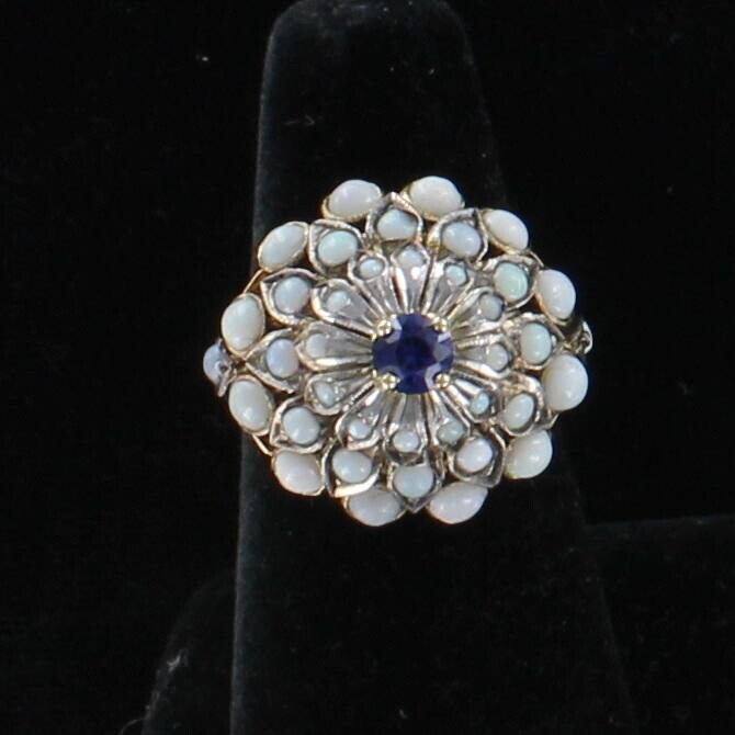 14KT SAPPHIRE AND OPAL RING