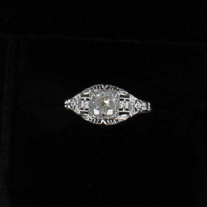 18KT .76 CT OLD EUROPEAN CUT DIAMOND FILAGREE ENGAGEMENT RING, CA 1920