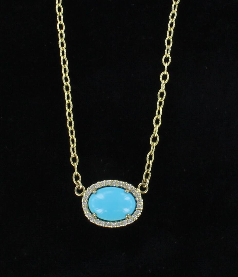14KT TURQUOISE AND DIAMOND PENDANT