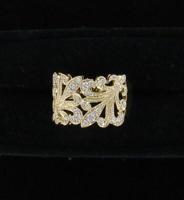 14KT .40 CT TW FLEUR DE LIS DIAMOND RING