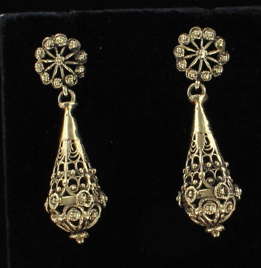 14KT DANGLE EARRINGS, CIRCA 1940