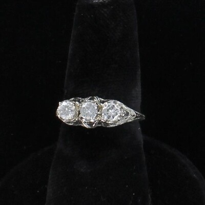 18KTW .60 CT TW FILAGREE DIAMOND ENGAGEMENT RING