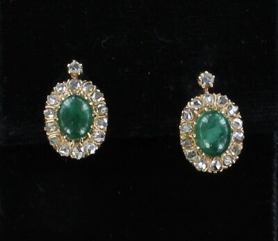 14KT CABOCHON EMERALD WITH 1.0 CT TW ROSE CUT DIAMOND EARRINGS CIRCA 1900