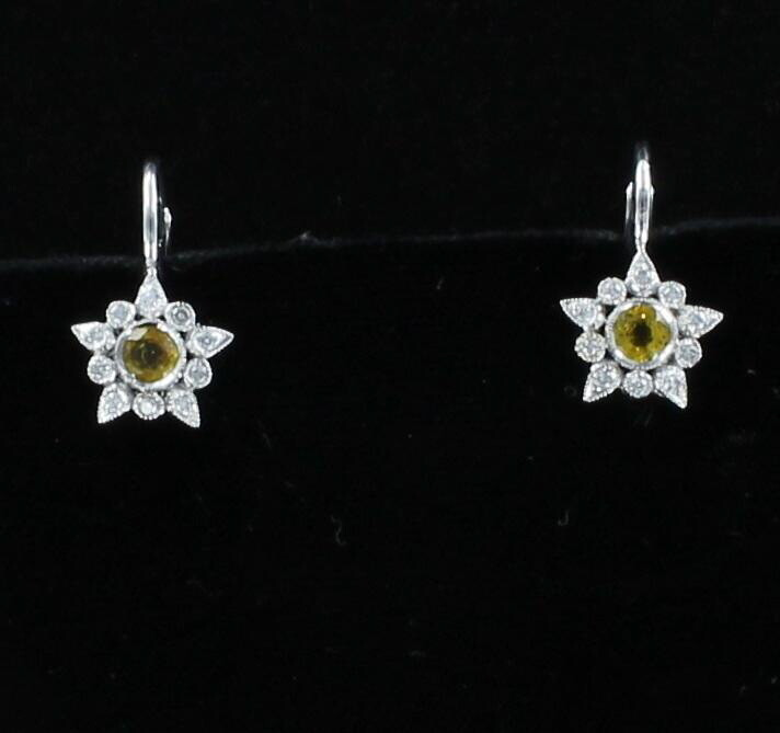 14KT YELLOW SAPPHIRE AND DIAMOND EARRINGS