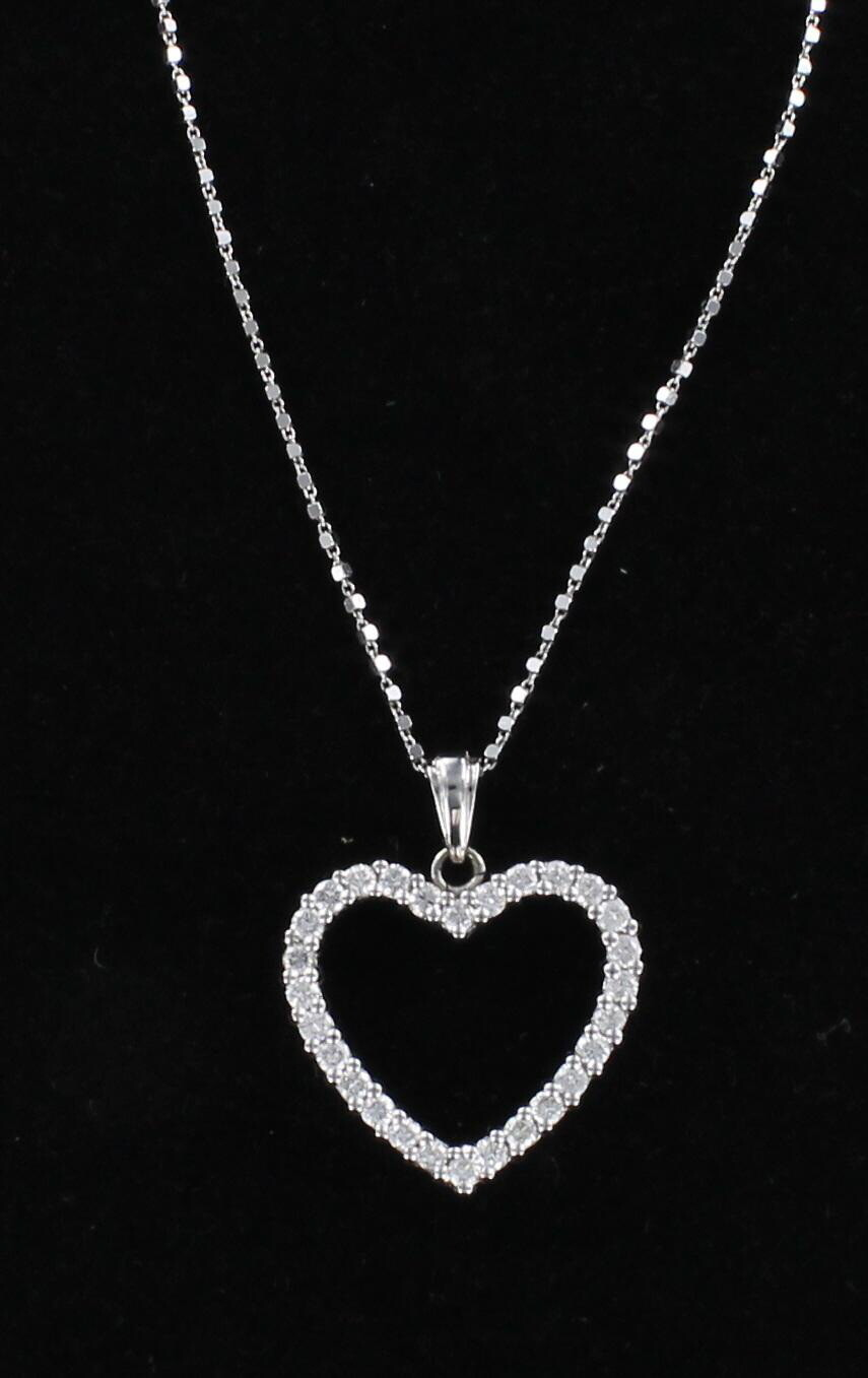 14KT .80 CT TW HEART NECKLACE