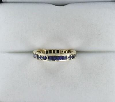 14KT 1.0 CT TW SAPPHIRE ETERNITY BAND, SIZE 5