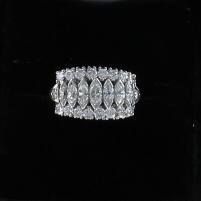 PLATINUM MARQUISE AND ROUND DIAMOND RING