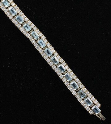 18KT TWO-TONE GOLD DIAMOND AND AQUAMARINE BRACELET