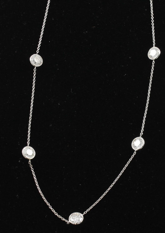 14KT DIAMOND NECKLACE/ CHAIN WITH 5 DIAMONDS, 3.93 CT TW