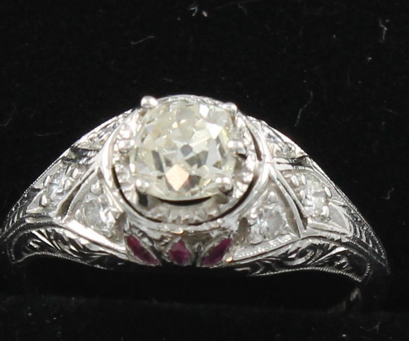 PLATINUM ART DECO DIAMOND ENGAGEMENT RING WITH RUBIES