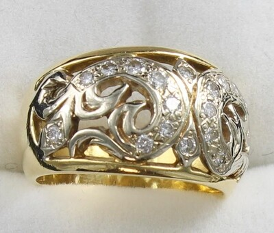 18KT TWO TONE GOLD DIAMOND BAND