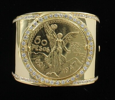 22KT 50 PESOS COIN AND DIAMONDS ON 18KT YELLOW GOLD BANGLE