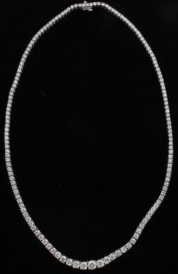 14KT WHITE GOLD 16.75 CT TW DIAMOND RIVIERA NECKLACE