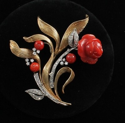 14KT RED CORAL AND DIAMOND PIN CIRCA 1930