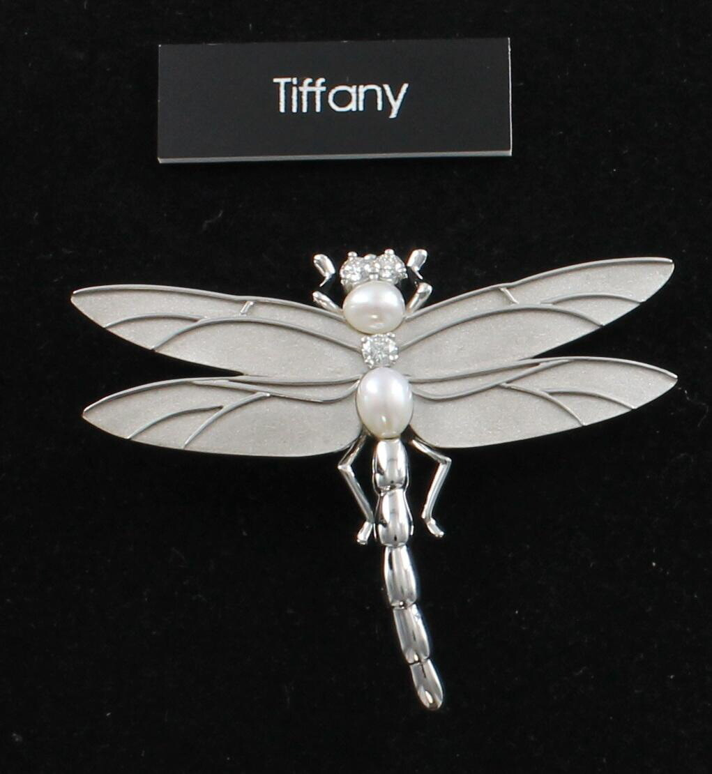 18KT WHITE GOLD TIFFANY DRAGON FLY PIN WITH DIAMONDS AND PEARLS