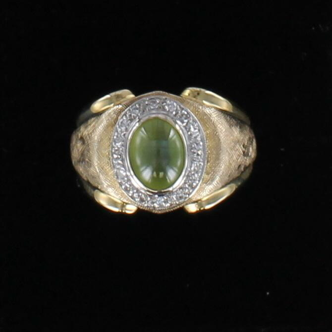 18KT RING WITH CAT'S EYE AND DIAMONDS 101-2716