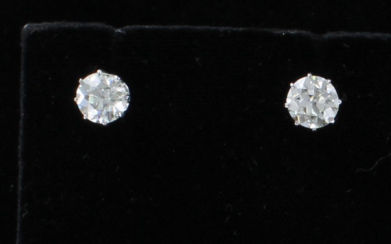 18KT 3.14 CT TW DIAMOND STUD EARRINGS 205-2169