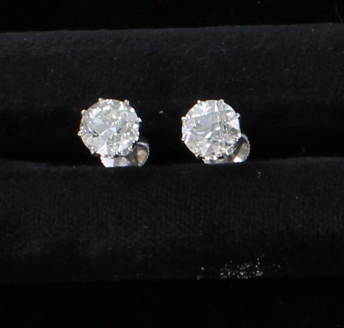 18KT 3.14 CT TW DIAMOND STUD EARRINGS