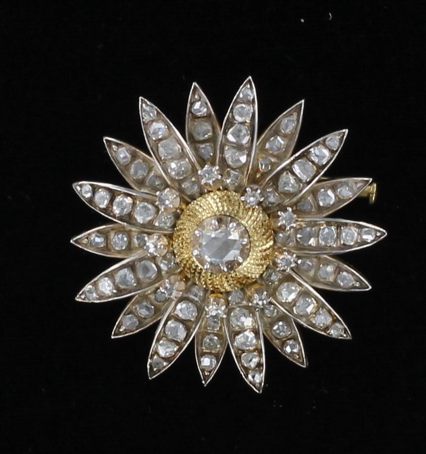 18KT ROSE CUT DIAMOND PIN CIRCA 1940 205-2231