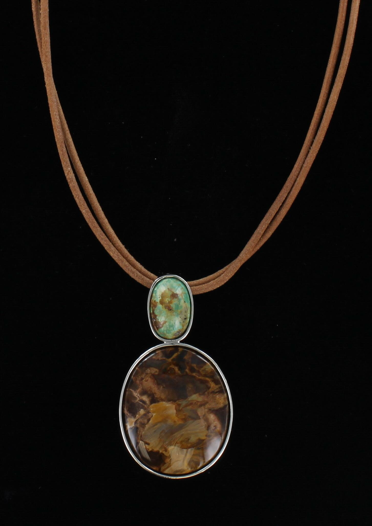 STERLING SILVER TURQUOISE AND BRONZITE NECKLACE