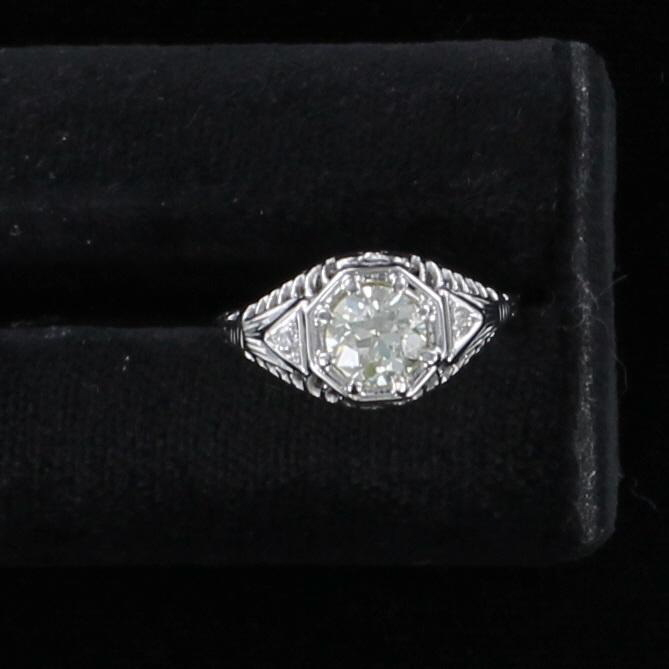 14KT .82 CT OLD EUROPEAN CUT DIAMOND ENGAGEMENT RING CIRCA 1920 195-3896