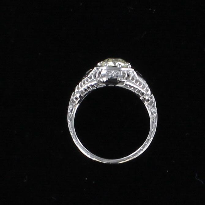 14KT .82 CT OLD EUROPEAN CUT DIAMOND ENGAGEMENT RING CIRCA 1920