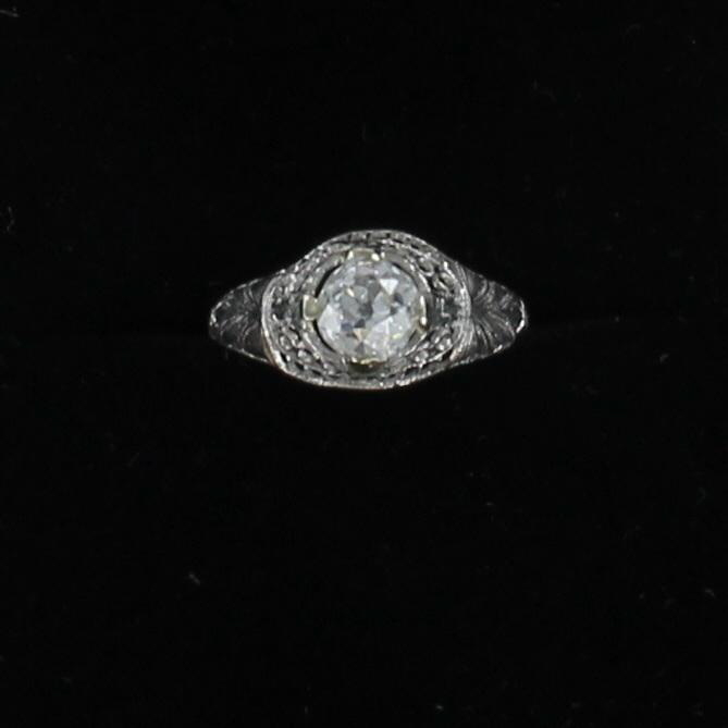 PLATINUM GIA CERTIFED .86 CT OLD EUROPEAN CUT DIAMOND RING, CIRCA 1920 036-743