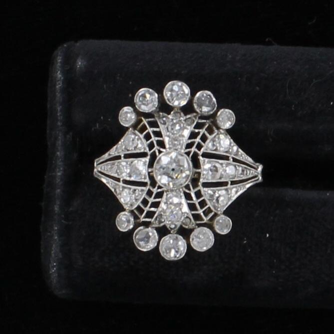 14KT 1.10 CT TW DIAMOND FILAGREE RING CIRCA 1920