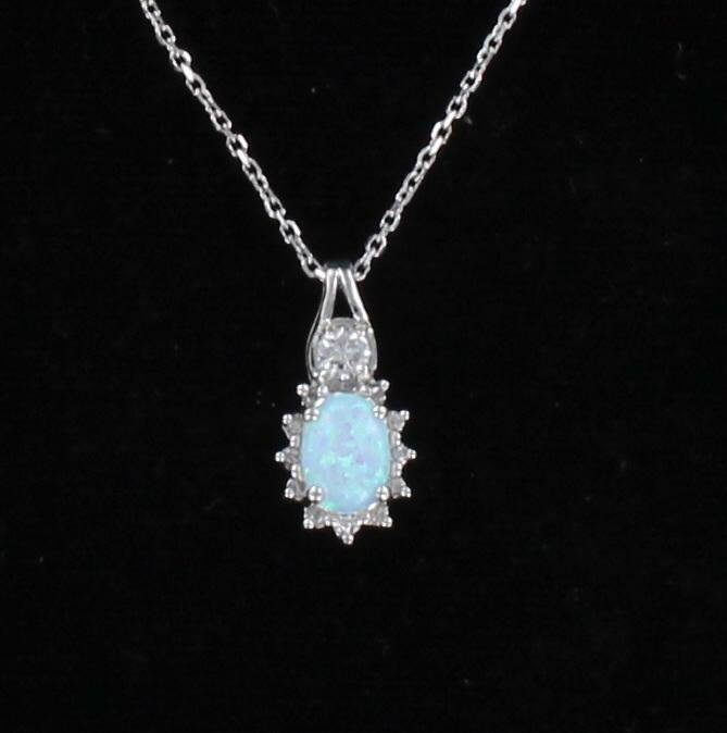 14KT OPAL AND DIAMOND NECKLACE