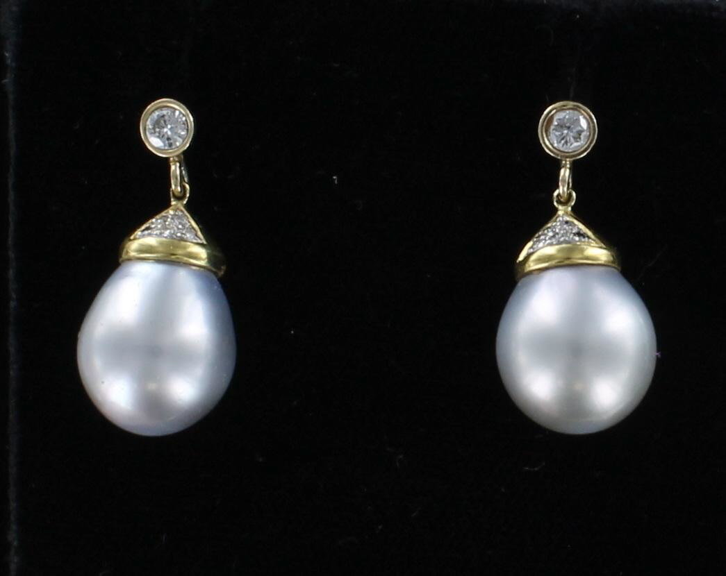 18KT SOUTH SEA PEARL EARRINGS WITH .40 CT TW DIAMONDS 195-4017