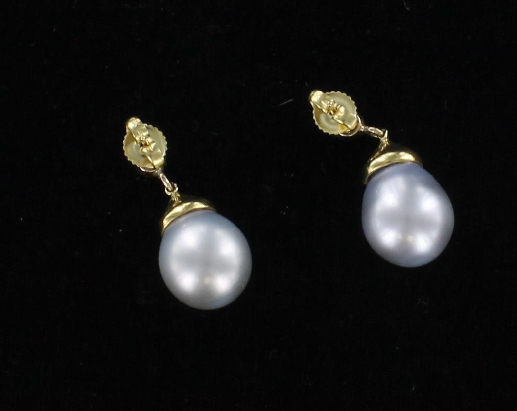 18KT SOUTH SEA PEARL EARRINGS WITH .40 CT TW DIAMONDS