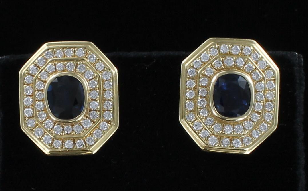 14KT SAPPHIRE AND DIAMOND EARRINGS