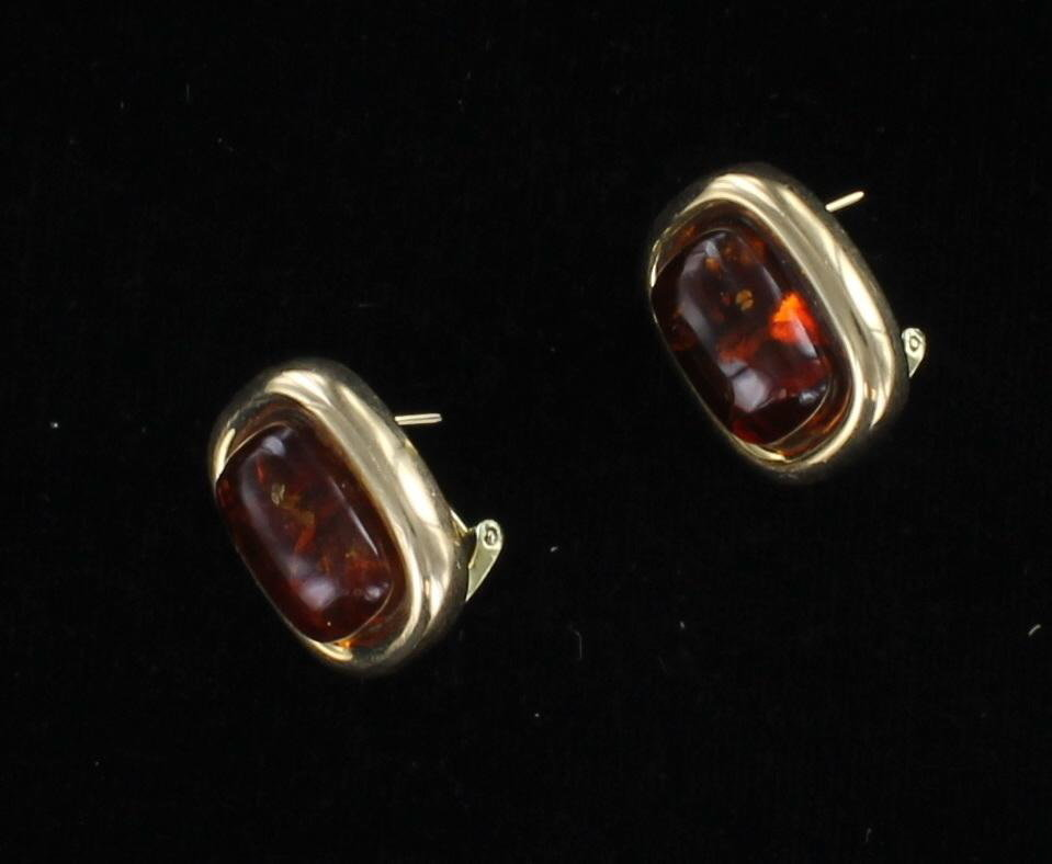 14KT AMBER EARRINGS