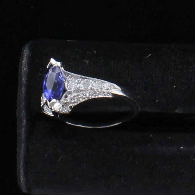PLATINUM SAPPHIRE AND DIAMOND TACORI RING