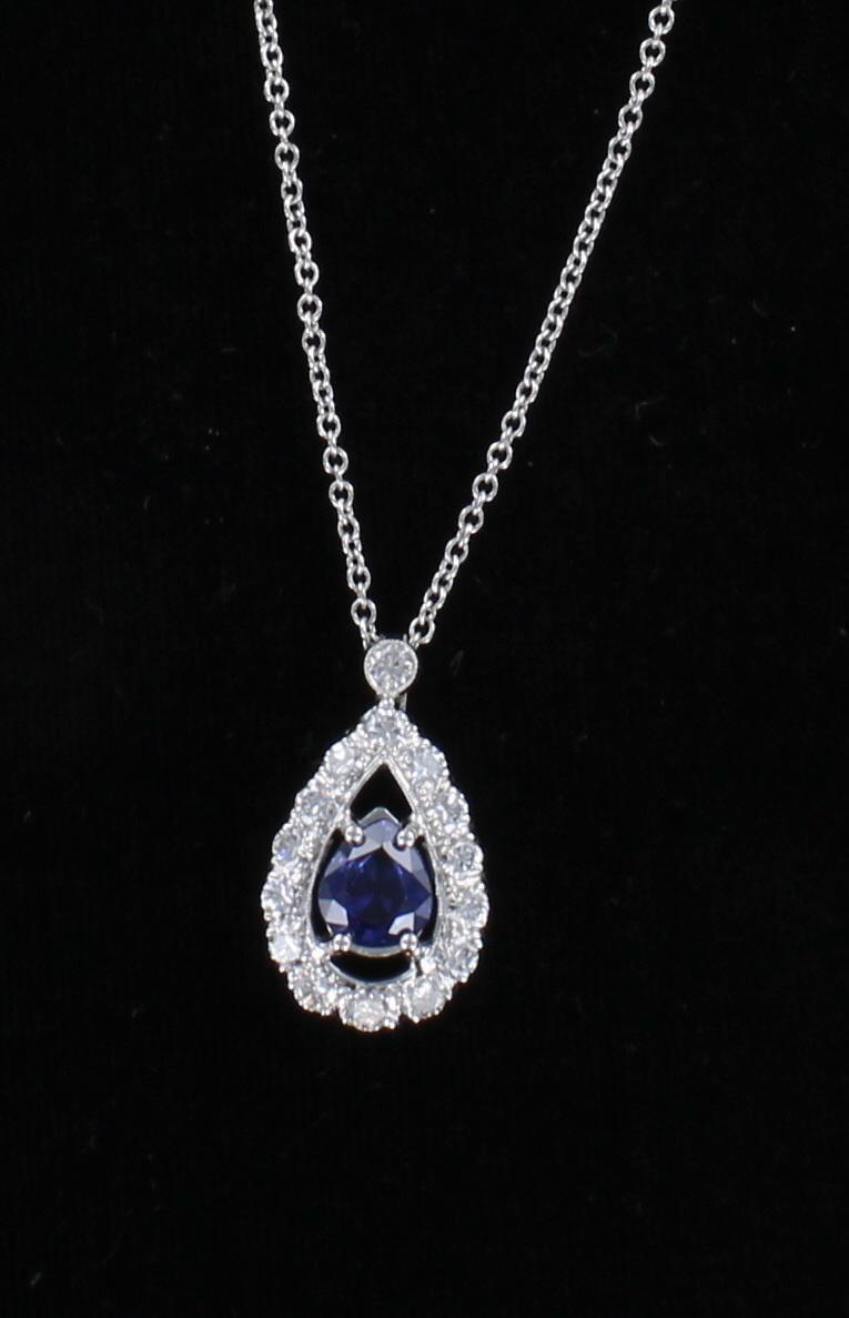 14KTW SAPPHIRE AND DIAMOND PENDANT 198-22866