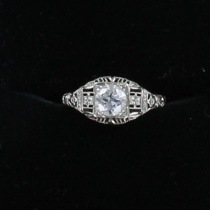 18KTW .75 CT OLD EUROPEAN CUT DIAMOND FILAGREE RING CIRCA 1920 195-4103