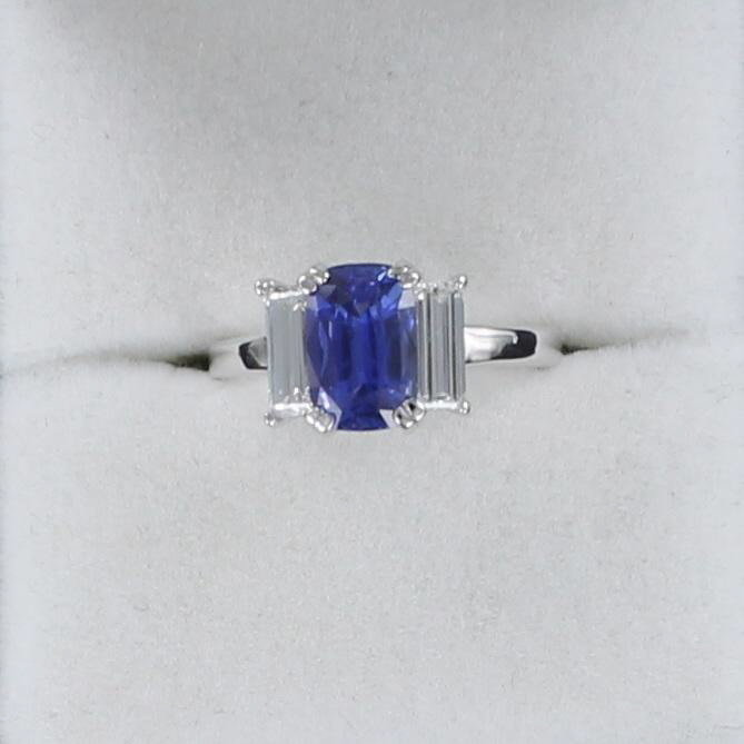 PLATINUM 2.45 CT CUSHION CUT SAPPHIRE AND DIAMOND RING