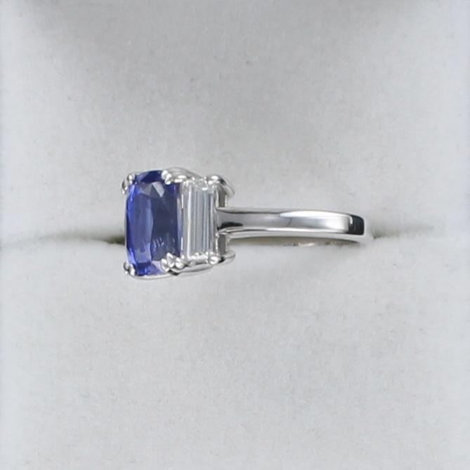 PLATINUM 2.45 CT CUSHION CUT SAPPHIRE AND DIAMOND RING