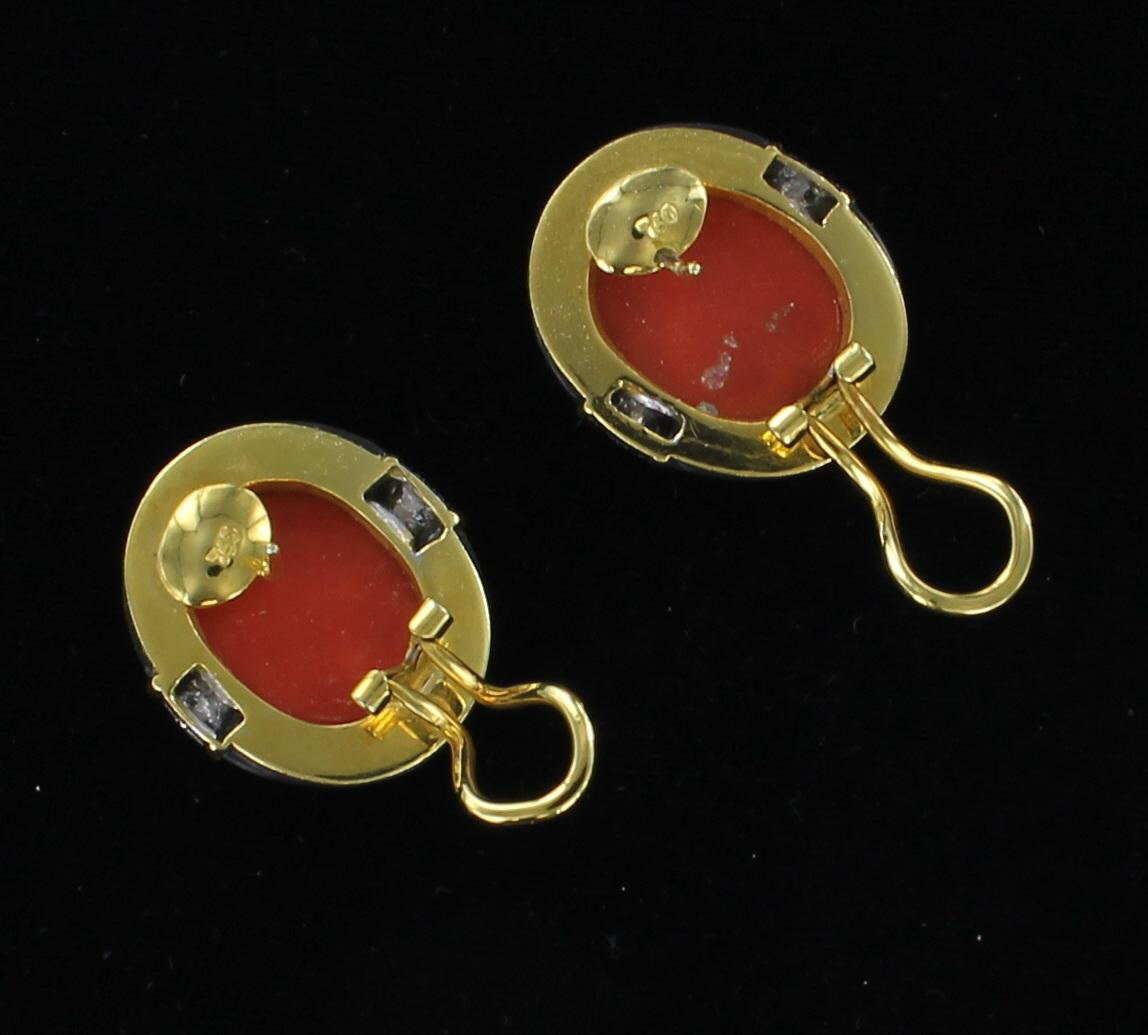 18KT CORAL, ONYX AND DIAMOND EARRINGS