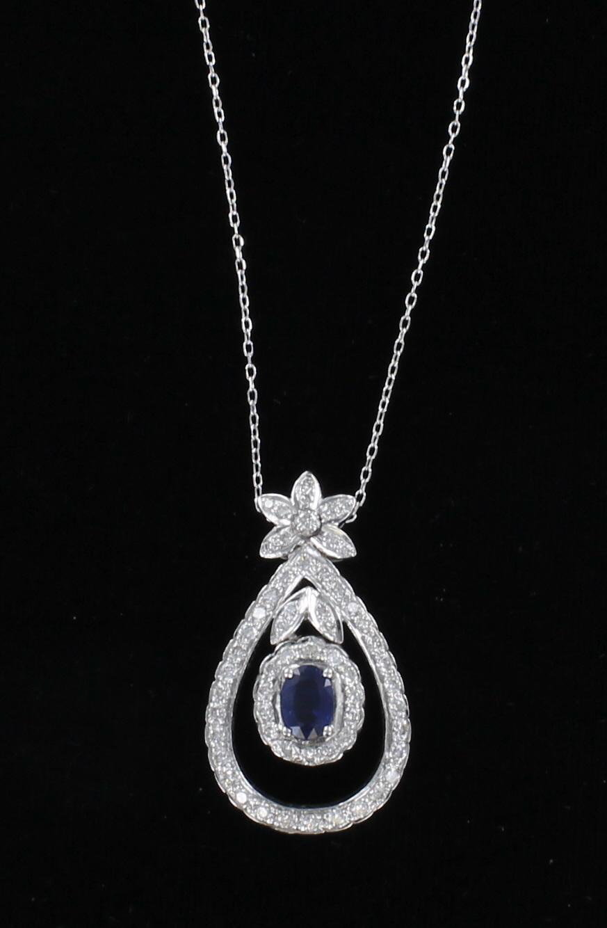 18KT SAPPHIRE AND DIAMOND NECKLACE 205-2535