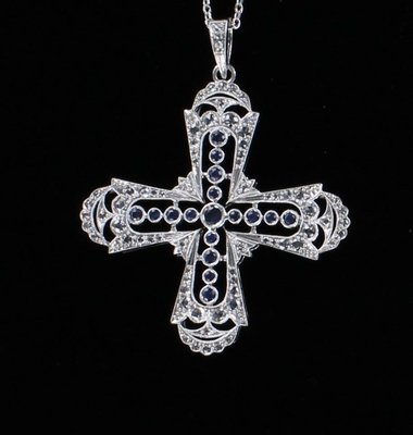 14KT CROSS WITH SAPPHIRES AND DIAMONDS