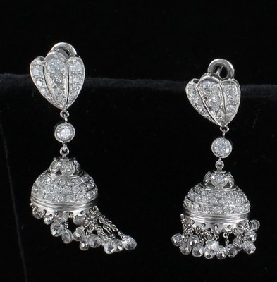 PLATINUM 7.5 CT. TW DIAMOND BRIOLETTE DANGLE EARRINGS