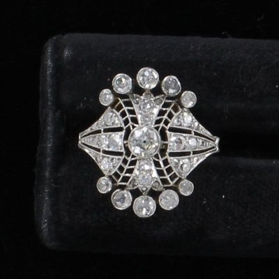 14KT 1.10 CT TW DIAMOND FILAGREE RING CIRCA 1920