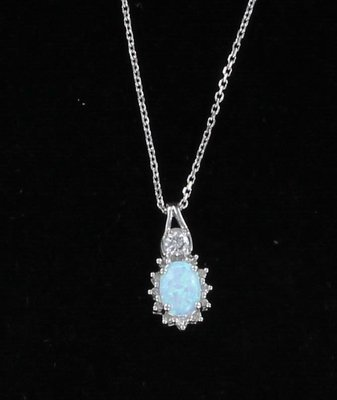 14KT OPAL AND DIAMOND PENDANT