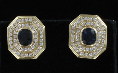 14KT SAPPHIRE AND DIAMOND EARRINGS