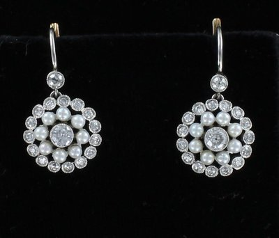 18KT/PLATINUM SEED PEARL AND DIAMOND EARRINGS