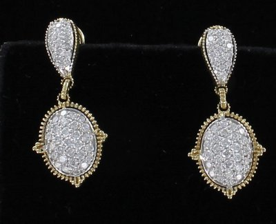 14KT 1.50 CT TW DIAMOND DANGLE EARRINGS