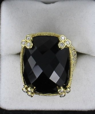 18KT JUDITH RIPKA DIAMOND AND TOPAZ RING