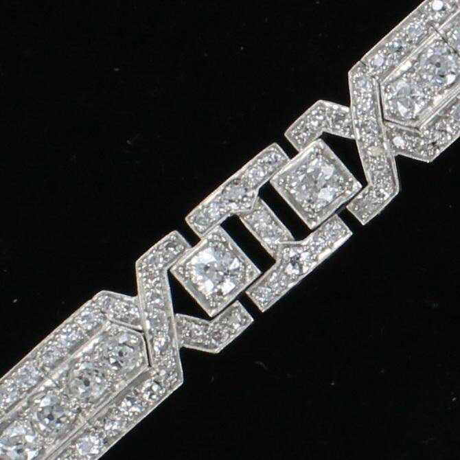 PLATINUM 13.08 CT TW ART DECO DIAMOND BRACELET